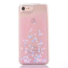 Ultra-thin Transparent Flowers Soft Case Cover T01 for Apple iPhone SE (2020) Pink