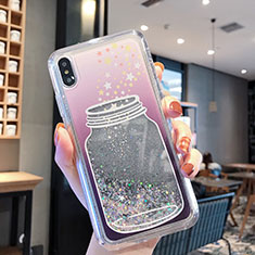 Ultra-thin Transparent Flowers Soft Case Cover T01 for Apple iPhone Xs Gray