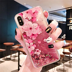 Ultra-thin Transparent Flowers Soft Case Cover T01 for Apple iPhone Xs Pink