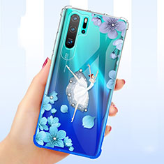 Ultra-thin Transparent Flowers Soft Case Cover T01 for Huawei P30 Pro Blue