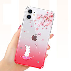 Ultra-thin Transparent Flowers Soft Case Cover T03 for Apple iPhone 11 Red