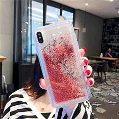 Ultra-thin Transparent Flowers Soft Case Cover T03 for Apple iPhone Xs Max Red