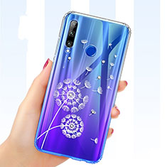 Ultra-thin Transparent Flowers Soft Case Cover T03 for Huawei Honor 20E Blue