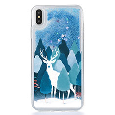 Ultra-thin Transparent Flowers Soft Case Cover T22 for Apple iPhone X Blue