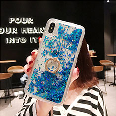 Ultra-thin Transparent Flowers Soft Case Cover T25 for Apple iPhone X Blue