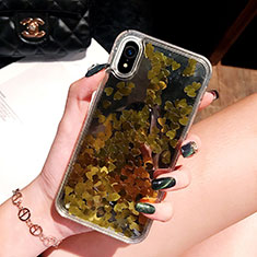 Ultra-thin Transparent Flowers Soft Case Cover T26 for Apple iPhone XR Gold