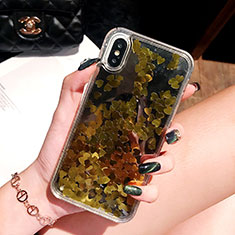 Ultra-thin Transparent Flowers Soft Case Cover T26 for Apple iPhone Xs Gold