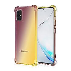 Ultra-thin Transparent Gel Gradient Soft Case Cover for Samsung Galaxy A51 4G Brown