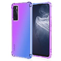 Ultra-thin Transparent Gel Gradient Soft Case Cover for Vivo V20 SE Purple