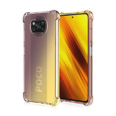 Ultra-thin Transparent Gel Gradient Soft Case Cover for Xiaomi Poco X3 NFC Brown