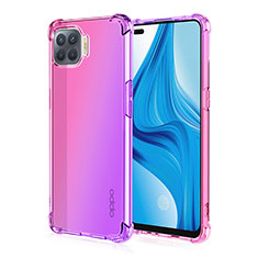 Ultra-thin Transparent Gel Gradient Soft Case Cover G01 for Oppo Reno4 Lite Pink