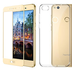 Ultra-thin Transparent Gel Soft Case with Screen Protector for Huawei GR3 (2017) Gold