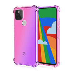 Ultra-thin Transparent TPU Soft Case Cover H01 for Google Pixel 5 Pink