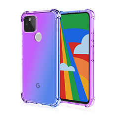 Ultra-thin Transparent TPU Soft Case Cover H01 for Google Pixel 5 Purple