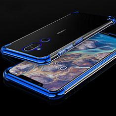 Ultra-thin Transparent TPU Soft Case Cover H01 for Nokia 7.1 Plus Blue