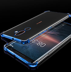 Ultra-thin Transparent TPU Soft Case Cover H01 for Nokia 7 Plus Blue