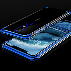 Ultra-thin Transparent TPU Soft Case Cover H01 for Nokia X5 Blue