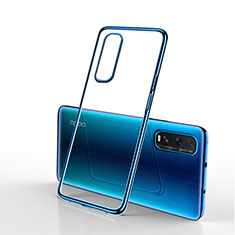 Ultra-thin Transparent TPU Soft Case Cover H01 for Oppo Find X2 Blue