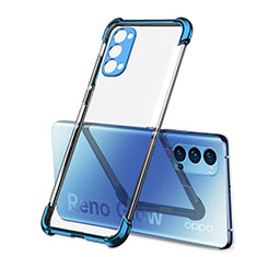 Ultra-thin Transparent TPU Soft Case Cover H01 for Oppo Reno4 5G Blue