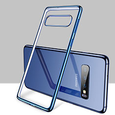 Ultra-thin Transparent TPU Soft Case Cover H01 for Samsung Galaxy S10 Plus Blue