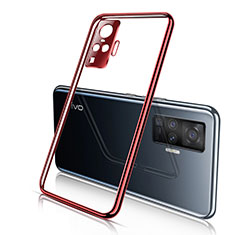 Ultra-thin Transparent TPU Soft Case Cover H01 for Vivo X51 5G Red