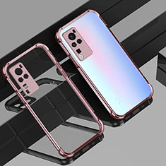 Ultra-thin Transparent TPU Soft Case Cover H01 for Vivo X60 Pro 5G Rose Gold