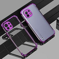Ultra-thin Transparent TPU Soft Case Cover H01 for Xiaomi Mi 11 5G Purple