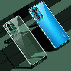 Ultra-thin Transparent TPU Soft Case Cover H02 for Oppo Reno5 Pro 5G Green