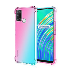 Ultra-thin Transparent TPU Soft Case Cover H02 for Realme C17 Cyan