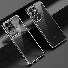 Ultra-thin Transparent TPU Soft Case Cover H02 for Samsung Galaxy S21 Ultra 5G Black