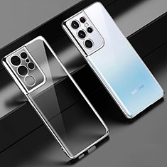 Ultra-thin Transparent TPU Soft Case Cover H02 for Samsung Galaxy S21 Ultra 5G Silver