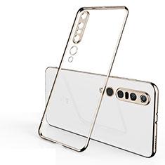 Ultra-thin Transparent TPU Soft Case Cover H02 for Xiaomi Mi 10 Pro Gold