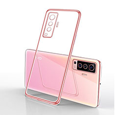 Ultra-thin Transparent TPU Soft Case Cover H03 for Vivo X50 5G Pink