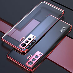 Ultra-thin Transparent TPU Soft Case Cover H05 for Vivo X50 5G Red