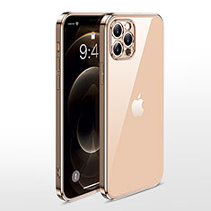 Ultra-thin Transparent TPU Soft Case Cover N01 for Apple iPhone 12 Pro Max Gold