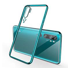 Ultra-thin Transparent TPU Soft Case Cover S01 for Xiaomi Mi Note 10 Cyan