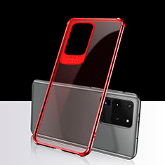 Ultra-thin Transparent TPU Soft Case Cover S02 for Samsung Galaxy S20 Ultra 5G Red