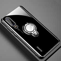 Ultra-thin Transparent TPU Soft Case Cover with Magnetic Finger Ring Stand C01 for Huawei P30 Black