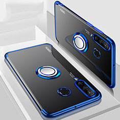 Ultra-thin Transparent TPU Soft Case Cover with Magnetic Finger Ring Stand C01 for Huawei P30 Lite Blue