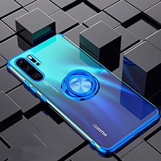 Ultra-thin Transparent TPU Soft Case Cover with Magnetic Finger Ring Stand C02 for Huawei P30 Pro Blue