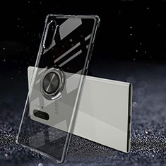 Ultra-thin Transparent TPU Soft Case Cover with Magnetic Finger Ring Stand C02 for Samsung Galaxy Note 10 Plus 5G Black