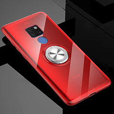 Ultra-thin Transparent TPU Soft Case Cover with Magnetic Finger Ring Stand C04 for Huawei Mate 20 X 5G Red