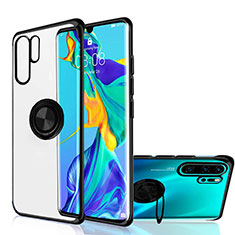 Ultra-thin Transparent TPU Soft Case Cover with Magnetic Finger Ring Stand C04 for Huawei P30 Pro Black