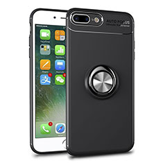 Ultra-thin Transparent TPU Soft Case Cover with Magnetic Finger Ring Stand S01 for Apple iPhone 8 Plus Black
