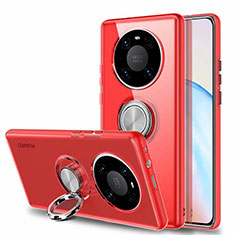 Ultra-thin Transparent TPU Soft Case Cover with Magnetic Finger Ring Stand S01 for Huawei Mate 40 Red