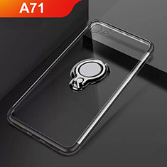 Ultra-thin Transparent TPU Soft Case Cover with Magnetic Finger Ring Stand S01 for Oppo A71 Black