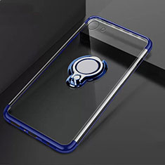 Ultra-thin Transparent TPU Soft Case Cover with Magnetic Finger Ring Stand S01 for Oppo A71 Blue