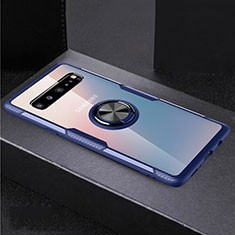 Ultra-thin Transparent TPU Soft Case Cover with Magnetic Finger Ring Stand S01 for Samsung Galaxy S10 5G SM-G977B Blue and Black
