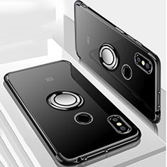 Ultra-thin Transparent TPU Soft Case Cover with Magnetic Finger Ring Stand S01 for Xiaomi Mi Max 3 Black