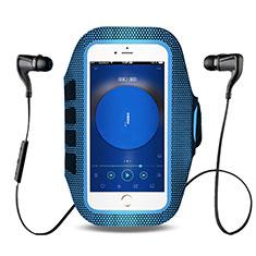 Universal Gym Sport Running Jog Arm Band Strap Case B17 for Alcatel 3X Blue